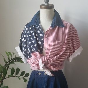 American Flag 90s Vintage 4th July Button Down Top